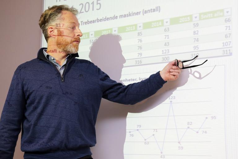 Fagsjef i MGF, Njål Hagen, redegjorde for maskinsalget i 2015. (foto: Runar F. Daler).