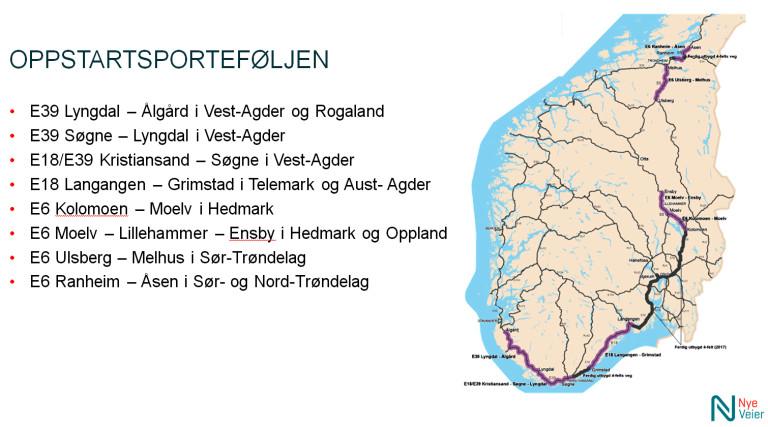 """Dette er Nye Veiers """"oppstartsportefølje"""". Det første prosjektet ut er E18 mellom Tvedestrand og Arendal, én 23 km lang totalentreprise som blir lagt ut på anbud 29. februar."""