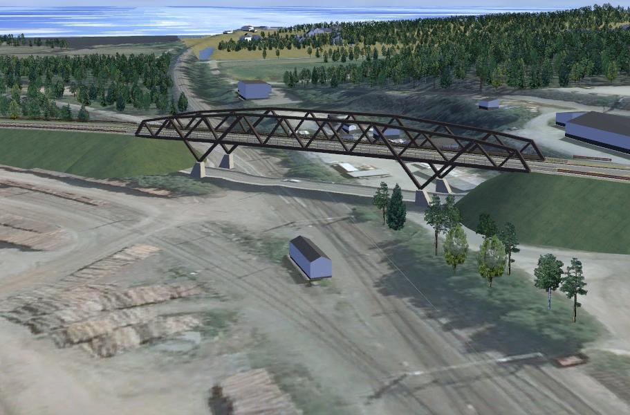 Norsenga bru vil ha to kjørefelt med påhengt gang- og sykkelfelt. Illustrasjon: Sweco Norge AS