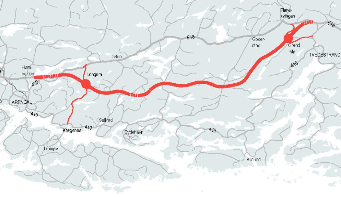 Den 23 kilometer lange strekningen er planlagt å være ferdig høsten 2019. (Illustrasjon: Nye Veier AS).