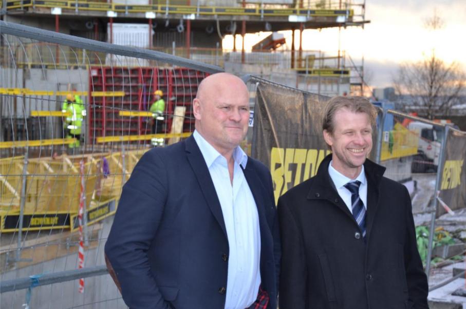Albert Hæhre, konsernsjef i Hæhre Isachsen Gruppen, og Jørgen Evensen, konsernsjef i Betonmast. (Foto: Hæhre Isachsen Gruppen).