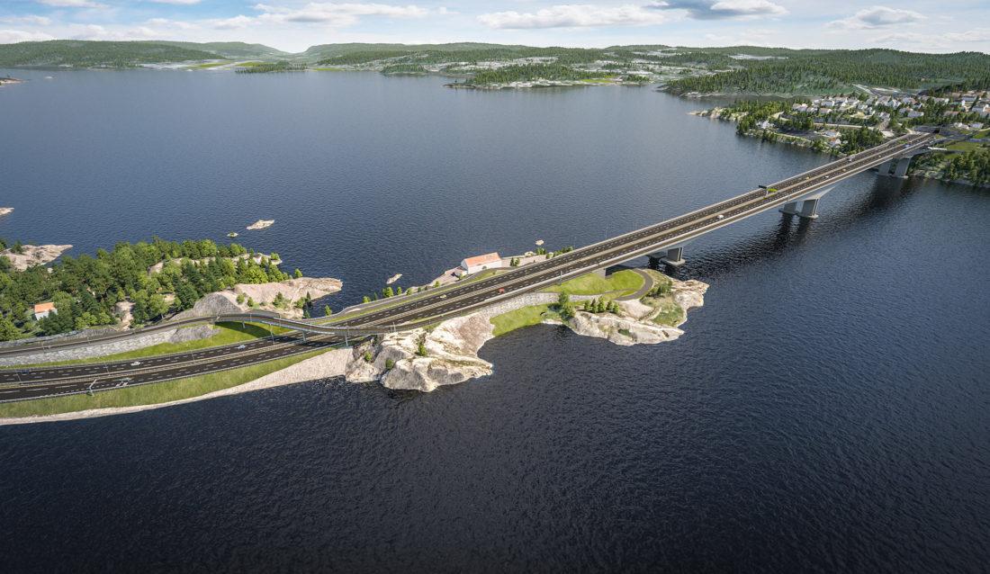 Varoddbrua i Kristiansand. (Illustrasjon: Statens vegvesen).