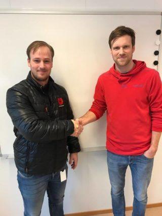 Prosjektselger Marius Johansen (t.v.) i Utleiesenteret AS og prosjektleder Kristoffer B. Aase i HAG Anlegg kommer til å samarbeide tett i tiden som kommer. (Foto: Utleiesenteret).