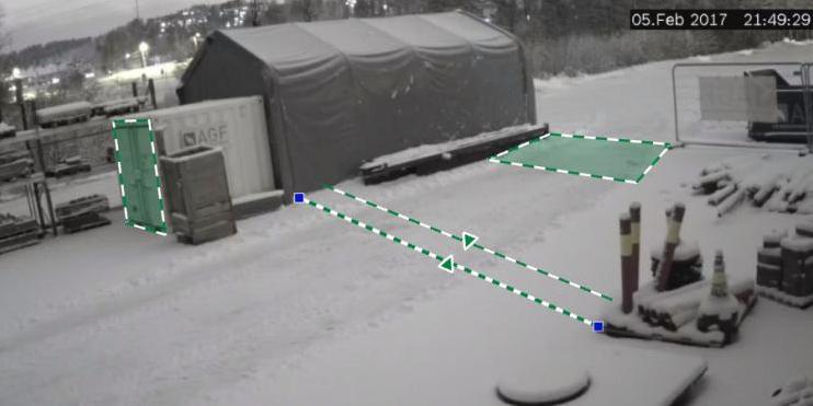 Kameraovervåkningen består av høyttaler og Bosch-kamera med Intelligent Video Analyse (IVA), som er tilkoblet Safe4's FG-godkjente alarmstasjon.