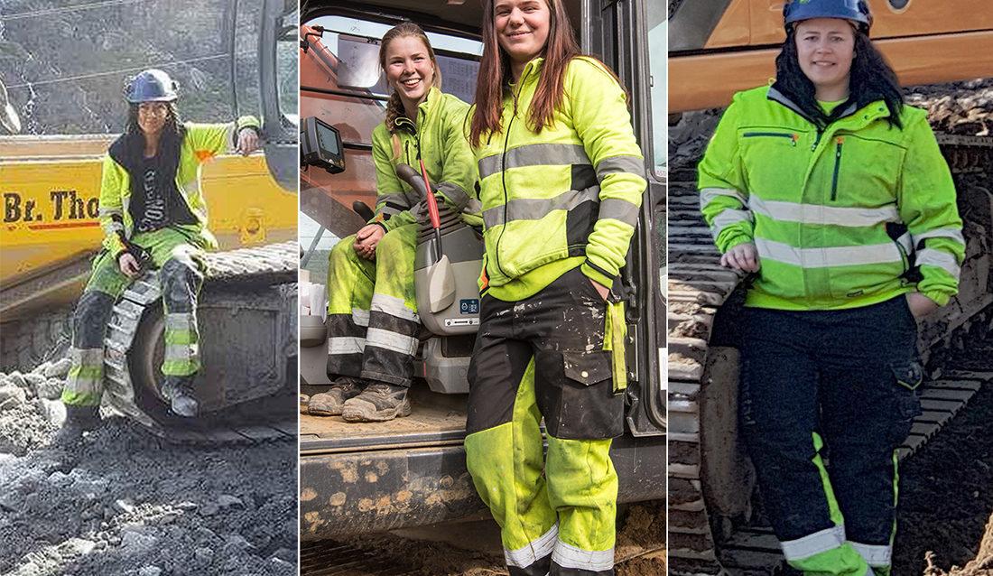 F.v. Linn Saghaug i Lysebotn, Eline Rostøl og Melina Brekne i Vanse og June-Marie Tronstad på E18 Arendal-Tvedestrand.