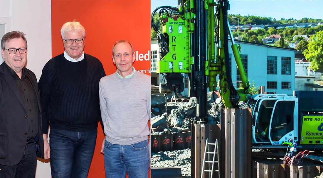 LEDERSKIFTE: F.v. avtroppende daglig leder Ivar Kynningsrud, påtroppende daglig leder Erling Omre og prosjektsjef Olav Stokkeland