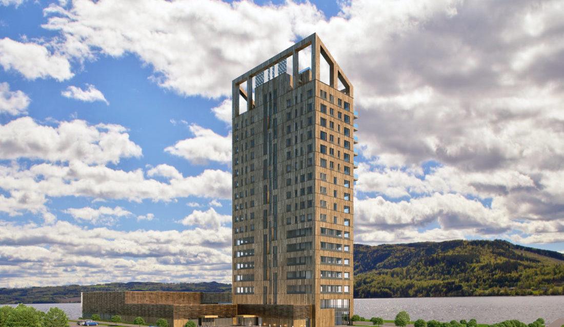 Mjøstårnet slik det vil se ut når det står ferdig 1. mars 2019. (Illustrasjon: Voll Arkitekter).
