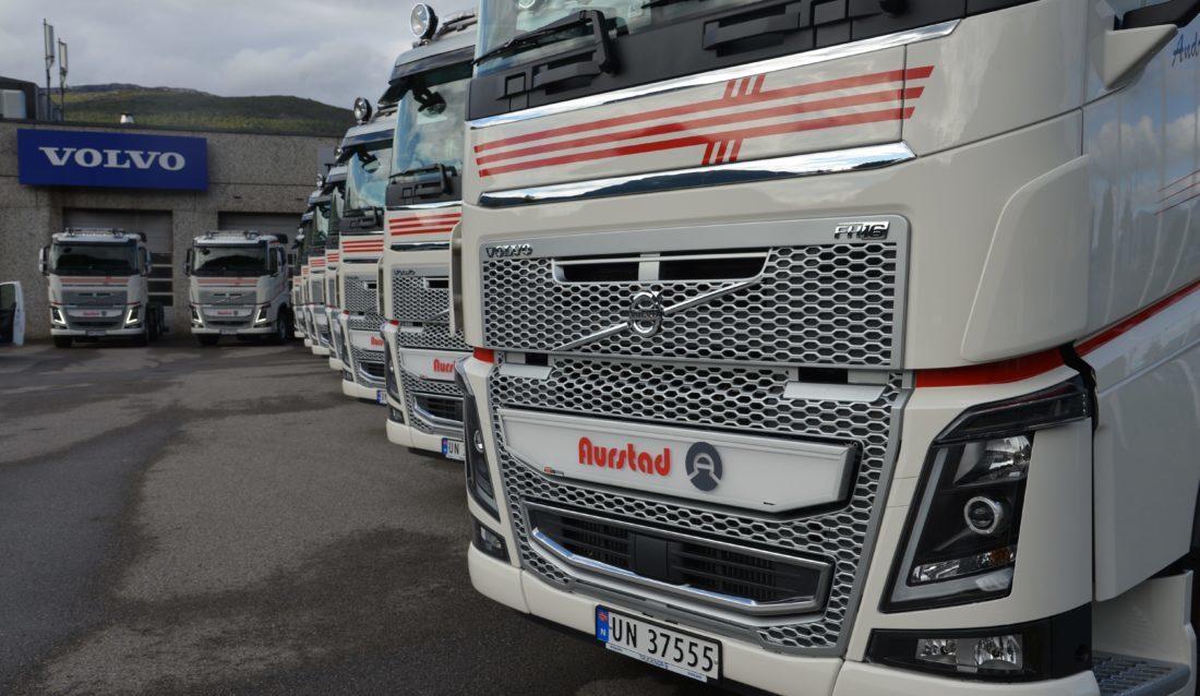 10 biler stilt opp for levering til kunden, Aurstad AS. (Foto: Volvo).