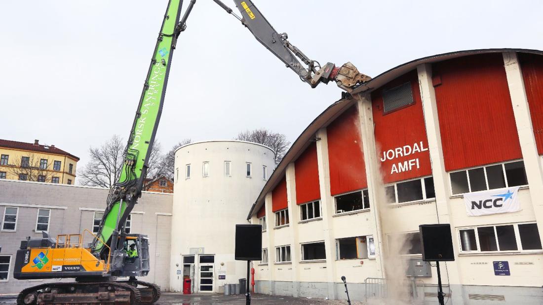 """NCC går inn i det nyetablerte nettverket """"Grønn Anleggssektor"""". Jordal Amfi i Oslo er NCCs første fossilfrie byggeplass. (Foto: Cato W. Gustavson/NCC)."""