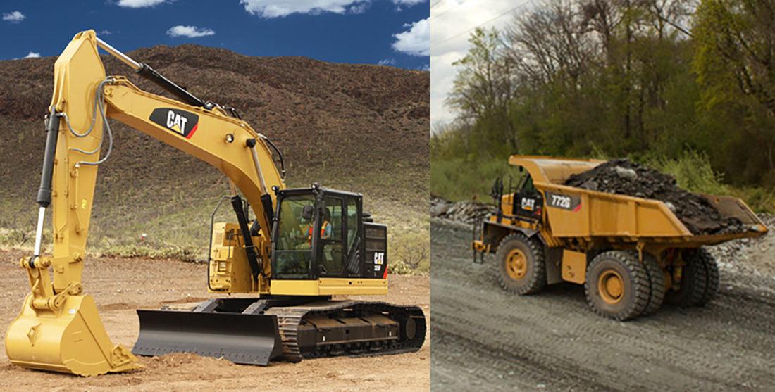 Risa Service har gått til innkjøp av en beltegraver av typen Cat 335FLCR med boreapplikasjon som er klargjort for betongspruting og vannspyling, samt fire tipptrucker av typen Cat 772G. (Foto: Pon Equipment).