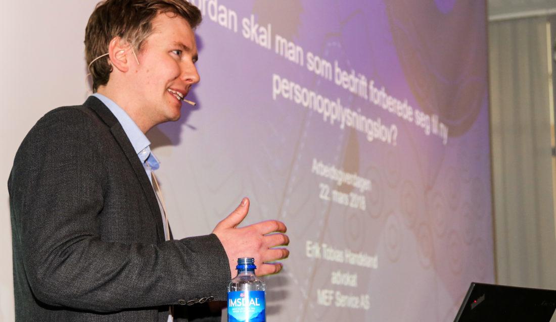 GDPR-GURU: MEFs advokat Erik T. Handeland informerte om hvordan bedrifter skal forholde seg til den nye personopplysingsloven, som trer i kraft 25. mai. (Foto: Runar F. Daler).