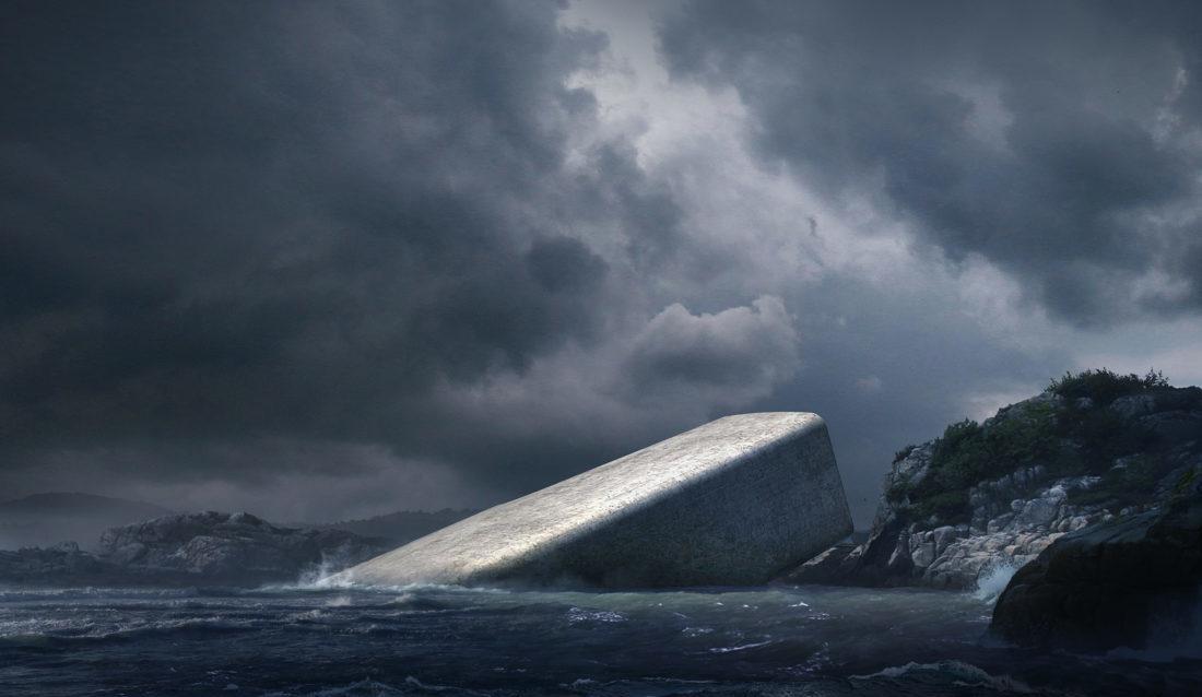 TØFT: Om et års tid skal undervannsrestauranten åpne like ved Lindesneshalvøya. Utbyggerne tror det vil få stor betydning for turismen i området. (Illustrasjon: MIR/Snøhetta).