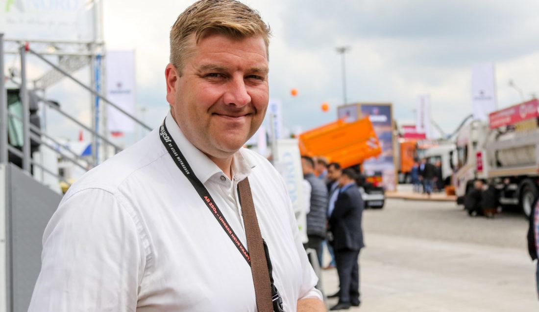 MEFs fagsjef for avfall og gjenvinning, Sverre Huse-Fagerlie, var selvsagt på plass på IFAT-messa i München.. (Foto: Runar F. Daler).