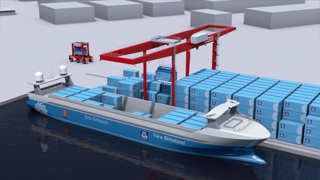 Yara Birkeland, blir verdens første autonome skip. (Foto: Yara).