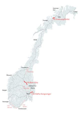 Kartet viser Nye Veiers eksisterende strekninger, samt de tre nye (i mørk rødt). (Illustrasjon: Nye Veier).
