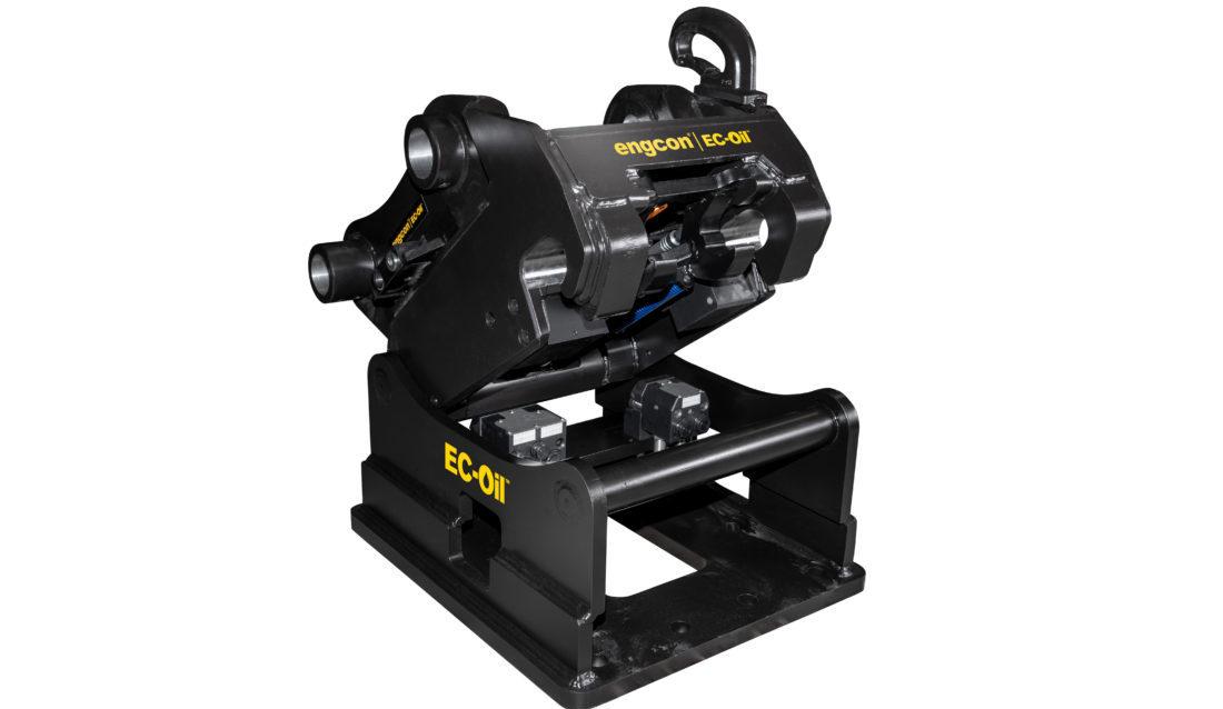 Engcon tilbyr automatisk redskapsfeste for gravemaskiner opptil 40 tonn. Kobler automatisk store hydrauliske redskaper med høyt trykk. (Foto: Engcon).