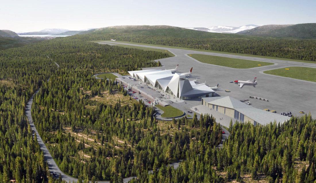 SPENNENDE: Slik kan den nye flyplassen bli seende ut når den står ferdig. (Illustrasjon: Polarsirkelen Lufthavnutvikling AS).