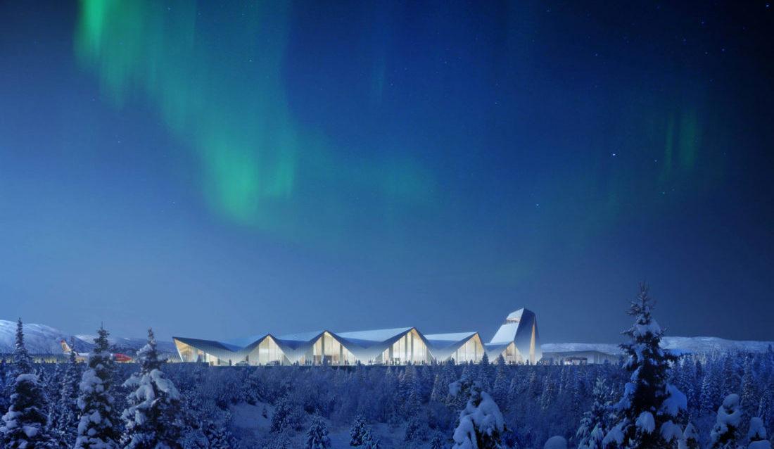 POTENSIAL: Forventingene og ambisjonene er store for den nye flyplassen. Går det som utbygger håper vil det se omtrent slik ut en vinterkveld med nordlys. (Illustrasjon: Polarsirkelen Lufthavnutvikling AS).