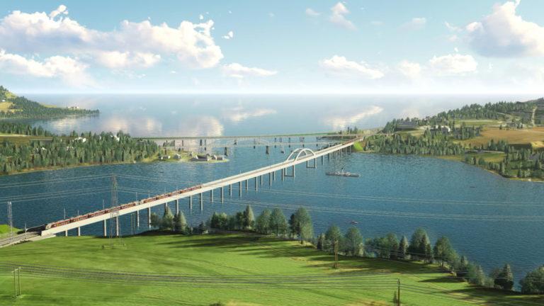 Minnevika jernbanebru, som med sine 836 meter blir Norges lengste jernbanebru. Brua skal stå på 268 peler, og hver av pelene går 40 meter dypt. (Illustrasjon: Bane NOR).