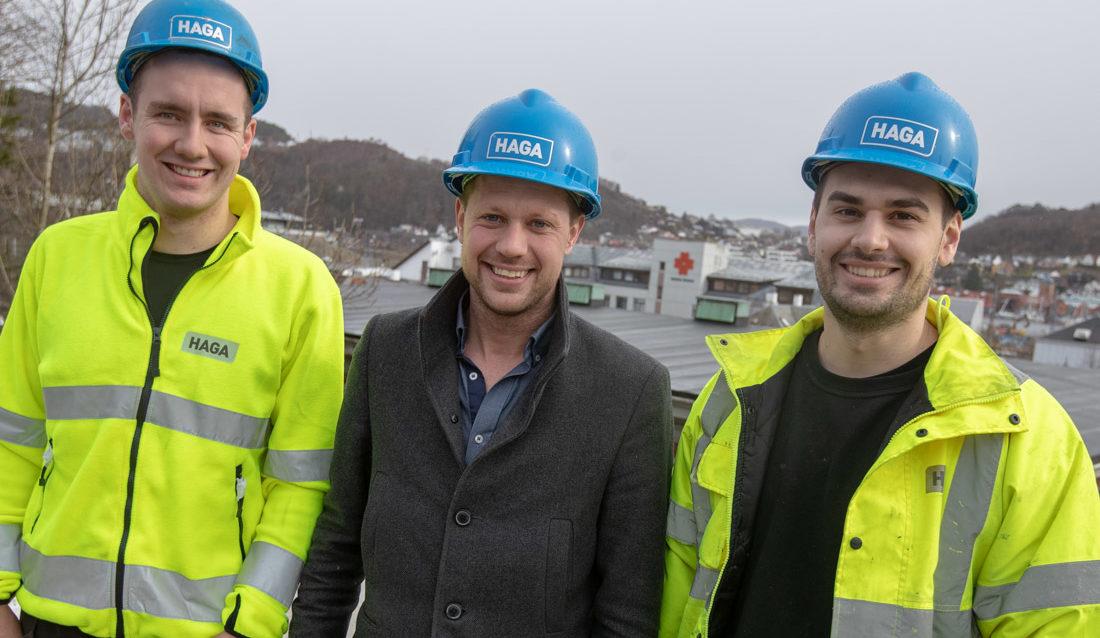 Tommy Haga (i midten) har tre fagbrev. Ole Morten Byberg (t.v.) og Bjørnar Meling har to hver.