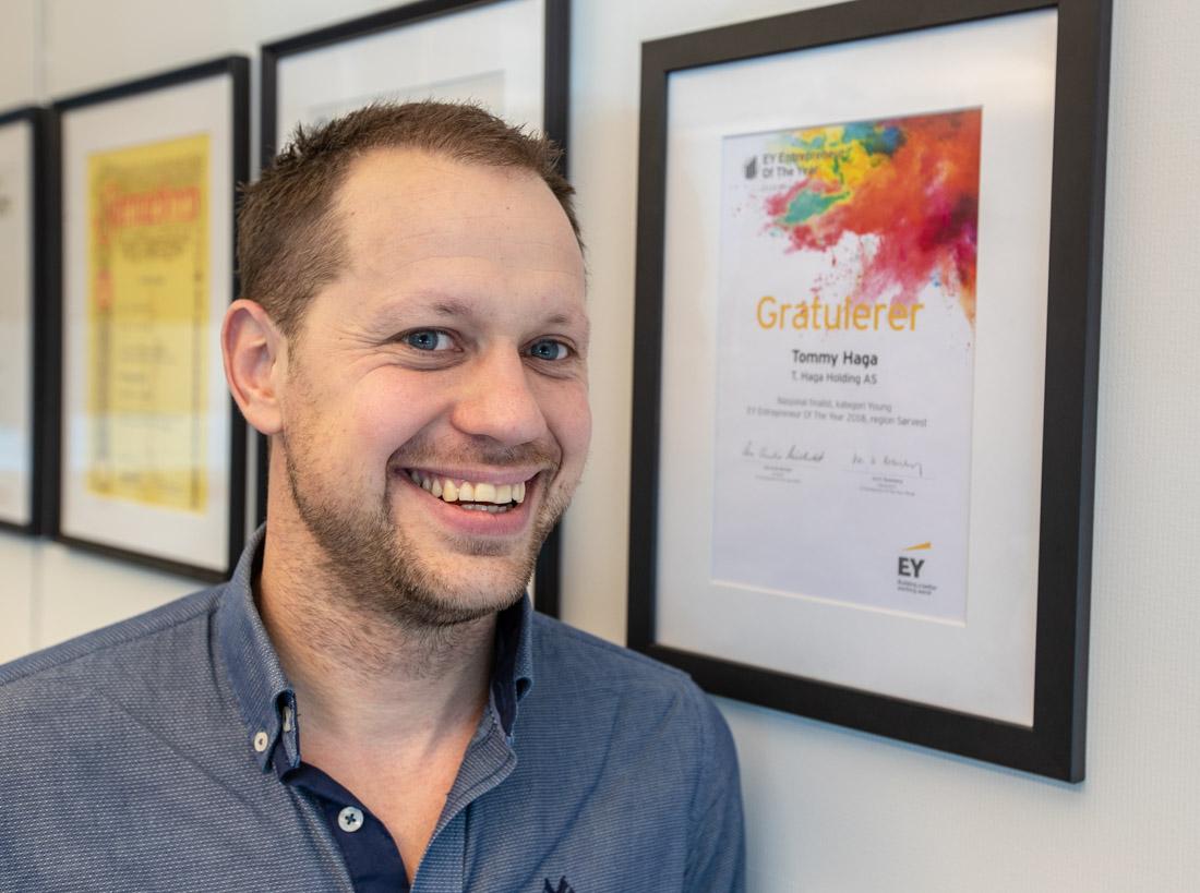 Tommy Haga var med i siste finale i konkurransen Entrepreneur of the year, i klassen unge næringsdrivende under 35 år