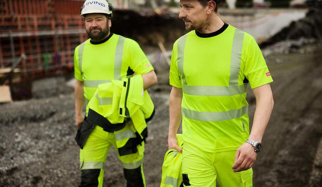 To karer i gult arbeidstøy - Dovre 4-veis stretch Strakofa